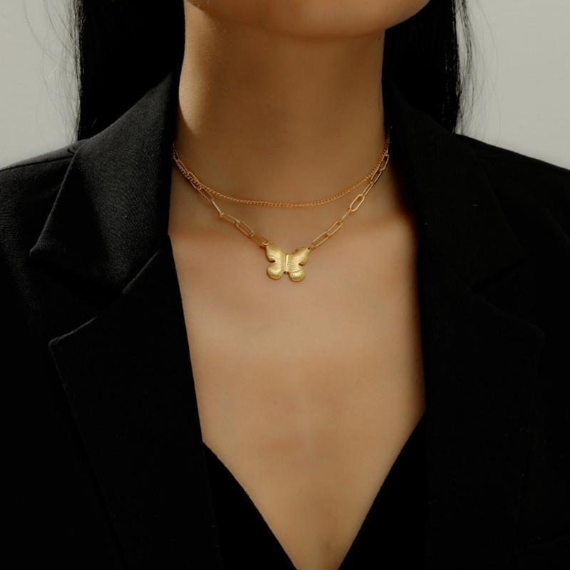Урожай Boho Gold Монета Слоистое ожерелье для женщин Бабочка цепь Длинные колье воротник кулон ожерелье девушки подарки