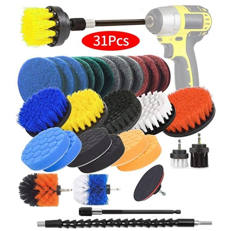 Broca Escova Scrub Pads 31 Piece Poder Scrubber Kit de limpeza - Todos os produtos de limpeza de finalidade esfregando broca sem fio para a piscina de limpeza Até 201214