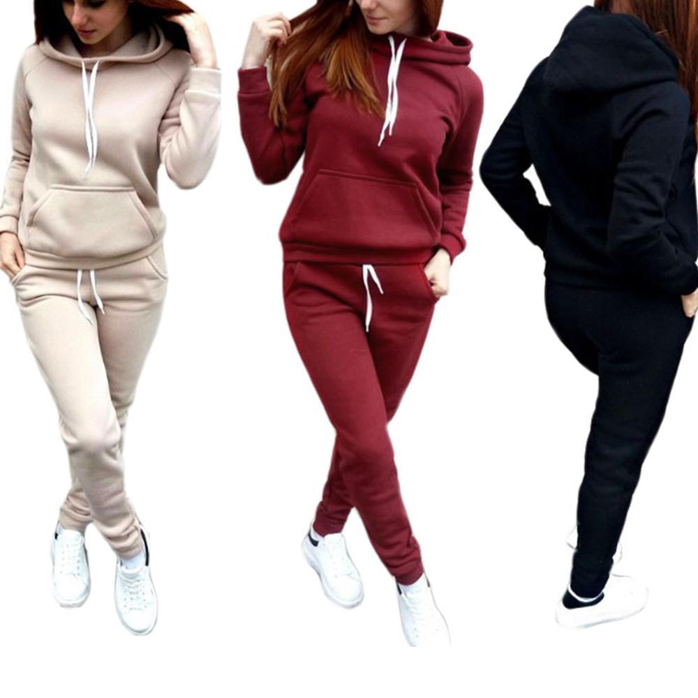 Casual Trasuit Women Hoodie Sweatshirt And Drawstring Pants Women Clothes Set Warm Autumn Female 2 Piece Set Plus Size