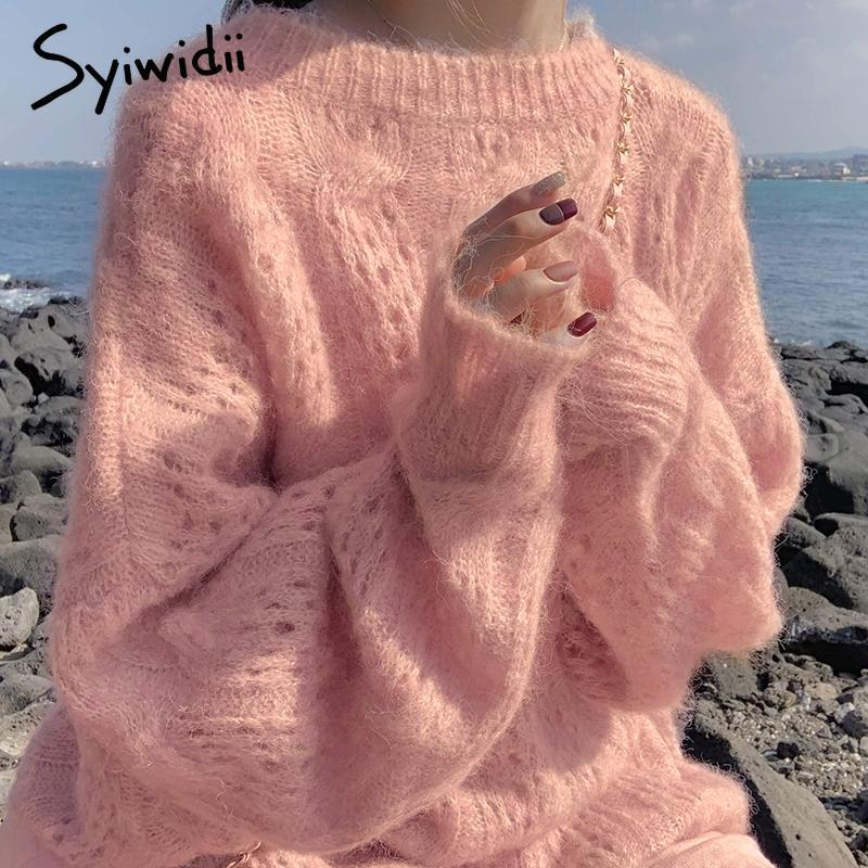 las mujeres jersey de cachemir syiwidii sobredimensionan suave O-cuello de la moda femenina hueco sólido de las señoras suéteres del suéter ocasional del invierno 2020 nueva