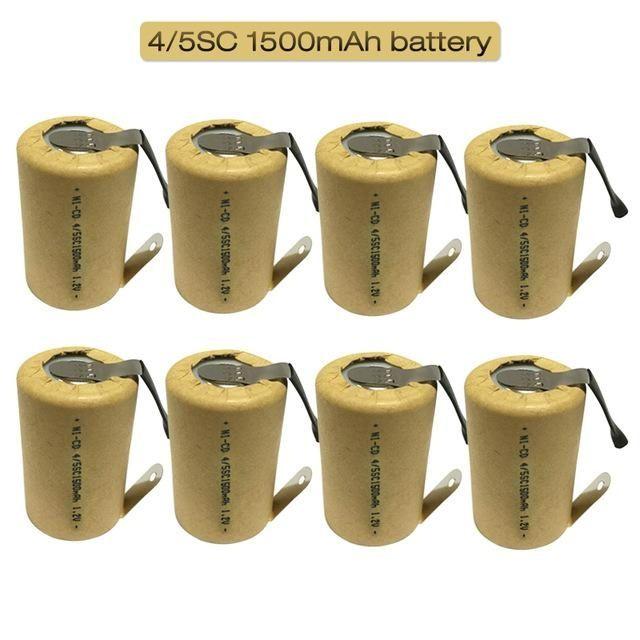 atteries Batteries rechargeables 4 / 5SC 1.2V 1500mAh SC SUBC Ni-CD batterie rechargeable au nickel-cadmium avec des onglets pour soudage Power Tool Dri ...
