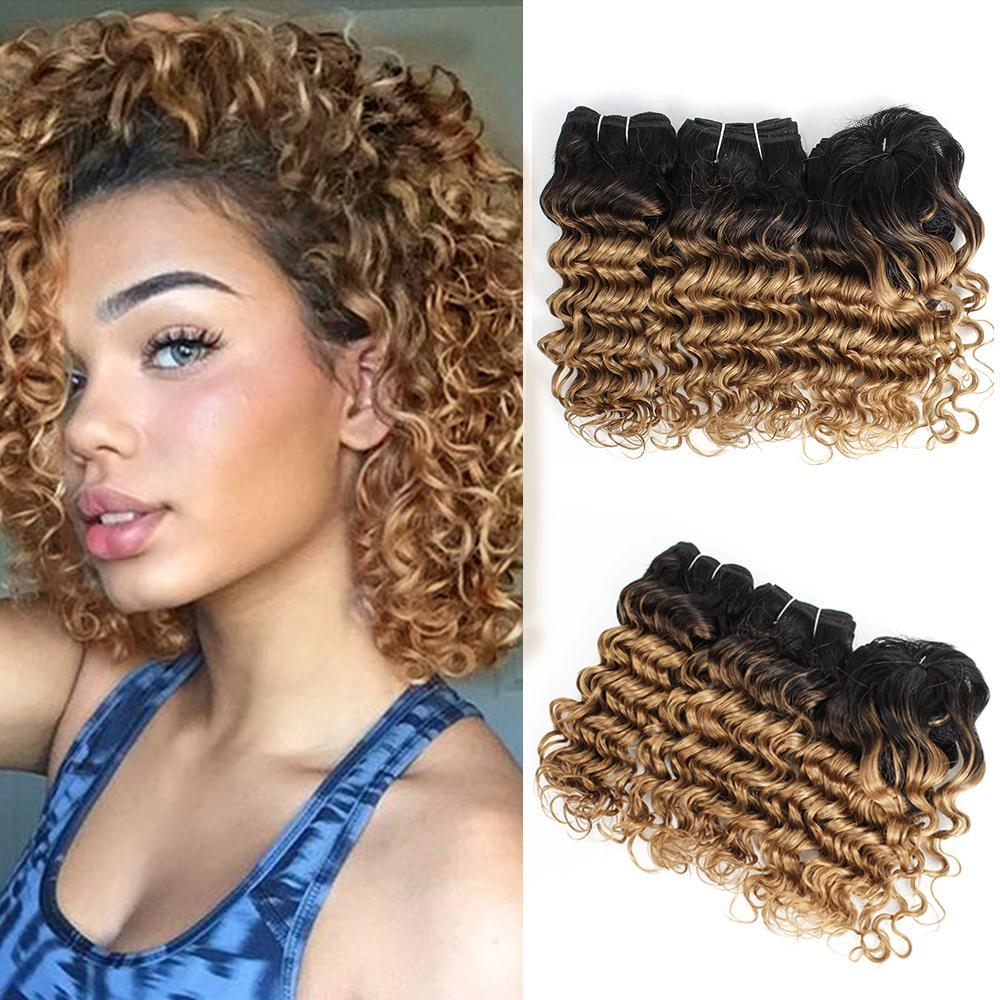 Cheap ombre волосы плетение пучки бразильской глубокой волны вьющиеся волосы 8-10 дюймов 3 шт. / Комплект для полной головы Remy Extensions человеческих волос 166 г / набор