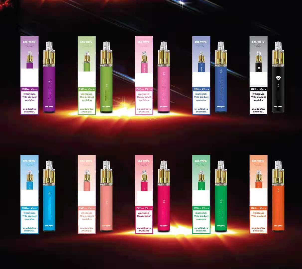 Original descartável Vape Eks 2500 Puffs E Cigarro Vapor Dispositivo Recarregável Prefilado Vaporizador Portátil Vs Vs Puff Air Bar Max Lux Bang XXL