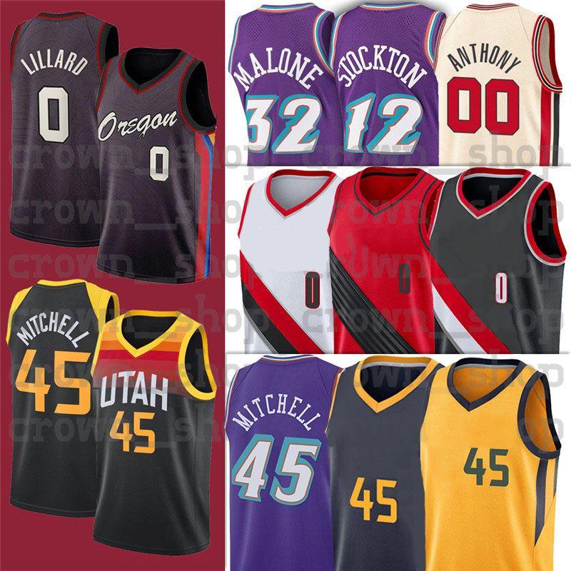 45 Donovan 0 Damian Mitchell 27 Rudy Men GoBert Lillard 12 John 32 Karl Stockton Malone NCAA كرة السلة الفانيلة