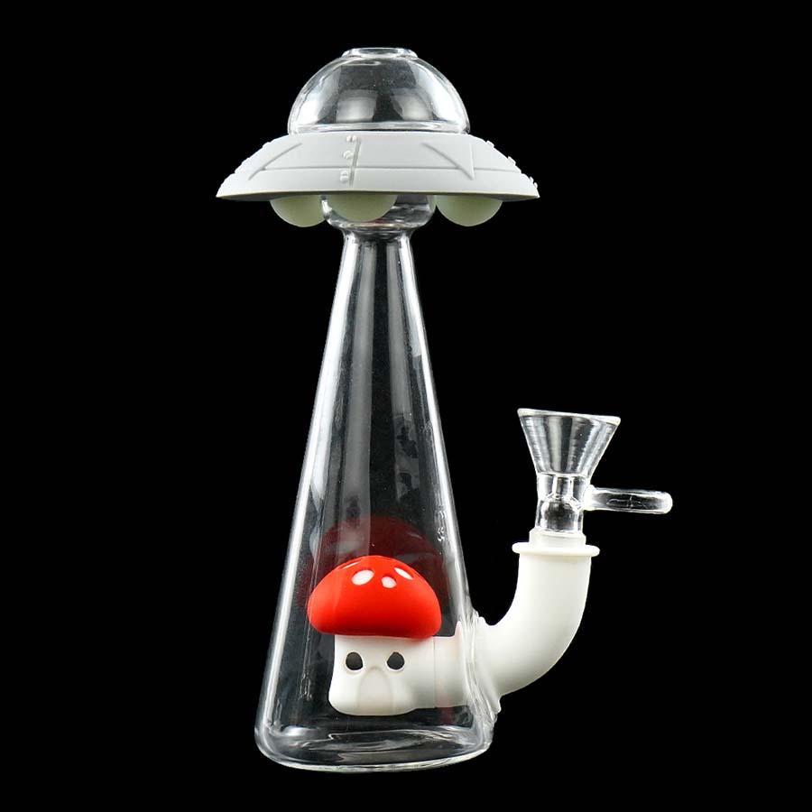 silicone fumo da tubulação de água mão UFO Água Pipes plataforma petrolífera de vidro bong óleo de silicone Rigs bong Glass Bowl Caliane gratuito bong tubulação de água
