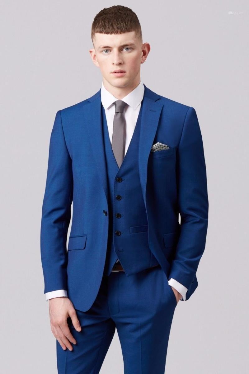 Blue Mens Groom Mariage Costumes Tuxedos Meilleur homme Blazer Business Pal sur mesure sur mesure sur mesure Bespoke A0561
