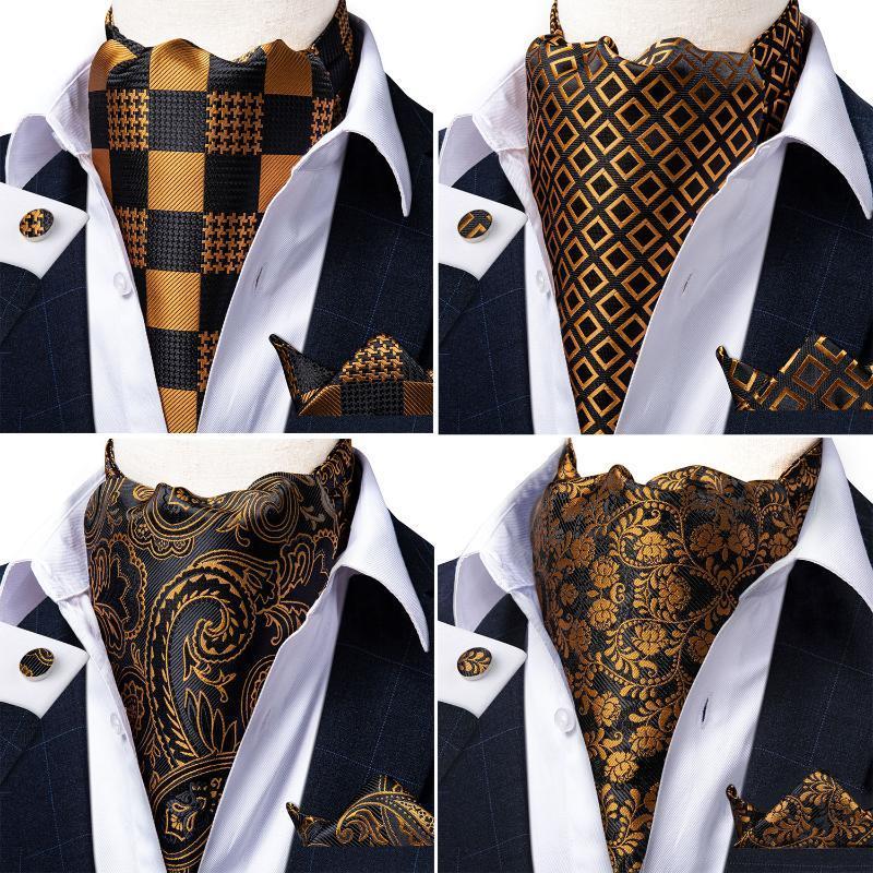 Hommes Vintage Floral Paisley d'or de mariage noir formel Cravat Ascot Scrunch Tie Auto style britannique de luxe en soie Cravate DiBanGu