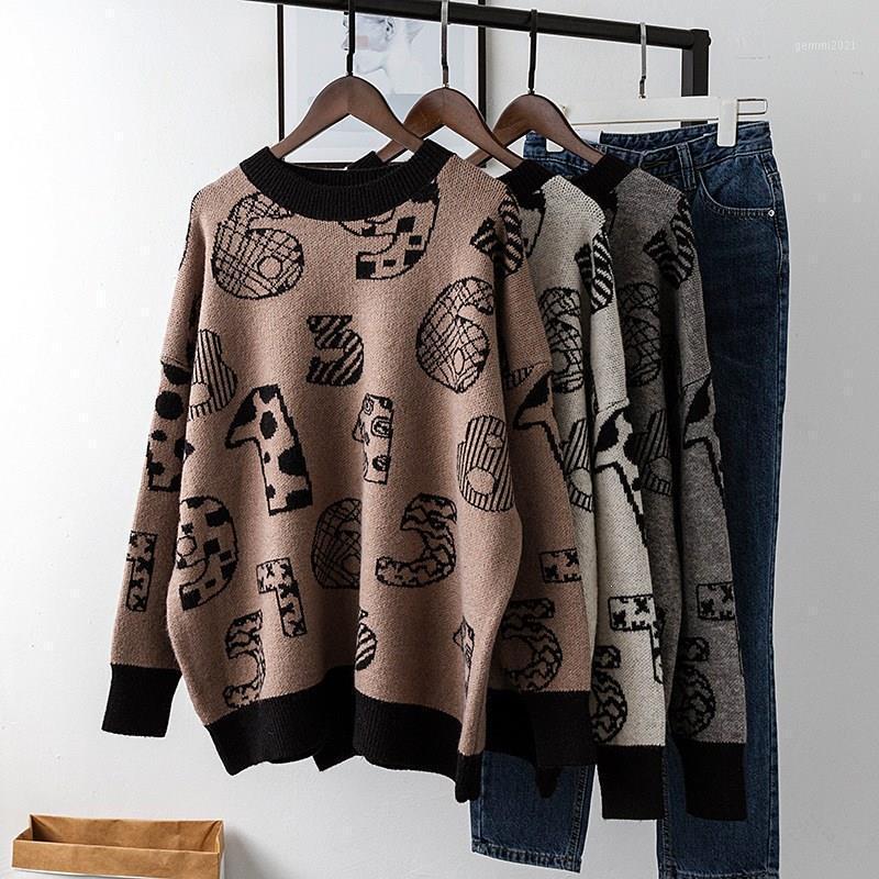 Письма Печать номера с длинным рукавом Свободные свитер Женщины Мода Негабаритный Пуловер О-Выревной Рождественский свитер1