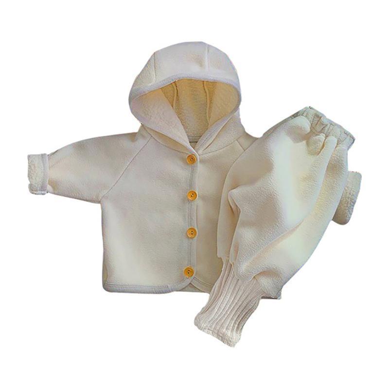 مجموعات الملابس 2021 طفل الخريف والشتاء أطفال مجموعة القطيفة مقنعين طفل الفتيان فتاة ملابس خارجية ارتداء الخريف الملابس