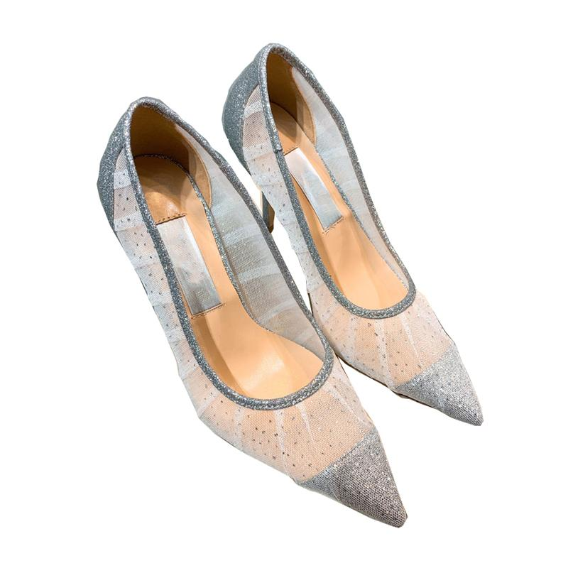 Newest Sexy lace high heels pumps white mesh silver glitter pointed toe 6.5cm 8.5cm flat heel women dress shoes size 35-40