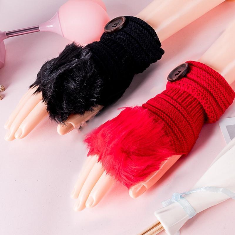 Пять пальцев перчатки зимние женщины плюшевые искусственные меховые вязание шерсть держать теплую моду короткая варежка без пальцев без пальцев
