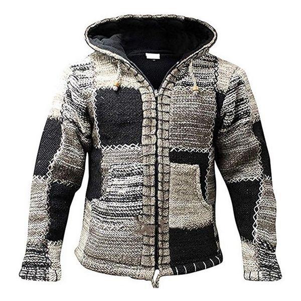 MJARTORIA Зимней мода Лоскутной Вязаная Outwear пальто с карманной Осенью Мужчина с капюшоном шерсть свитера кардиган Перемычка Q1110