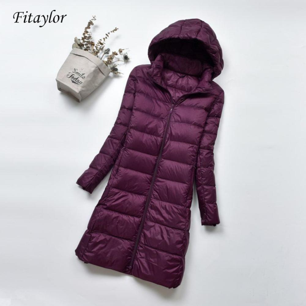Fitaylor manteau d'hiver chaud ultra léger 90% de canard blanc Veste pour femmes Parka à capuche Taille Plus 4XL Vestes Femme