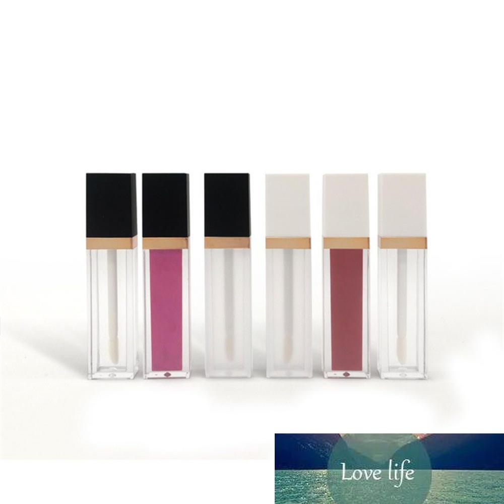 7ml carré maquillage liquide vides de rouge à lèvres de lèvres gloss tubes brillants black black capuchon transparent conteneur d'emballage cosmétique givré