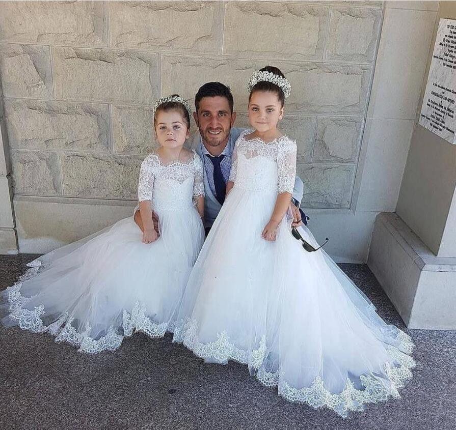 2021 Muhteşem Beyaz Dantel Çiçek Kızların Elbiseleri Düğünler Için Bebek Çocuk Doğum Günü Partisi Kıyafeti Bateau Boyun Yarı Uzun Kollu İlk Communion