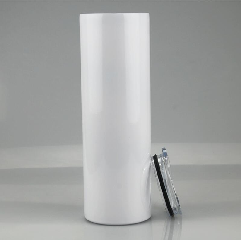 20oz 30oz Blank Sublimation Tumblers dritto Acciaio inossidabile Blank Bianco Bianco Tazza Skinny con coperchio e paglia di plastica Mare di trasporto CCA12593