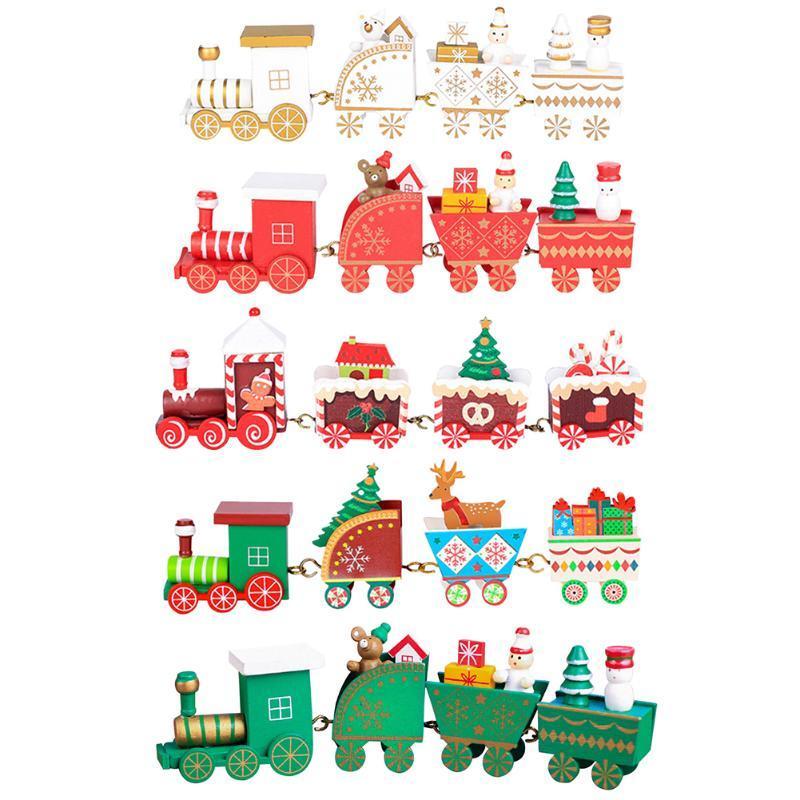 Мини рождественские украшения Смешные Вуд Поезд Установить Поезд Модель для рабочего украшения Детские игрушки Мультфильм Рождественский подарок