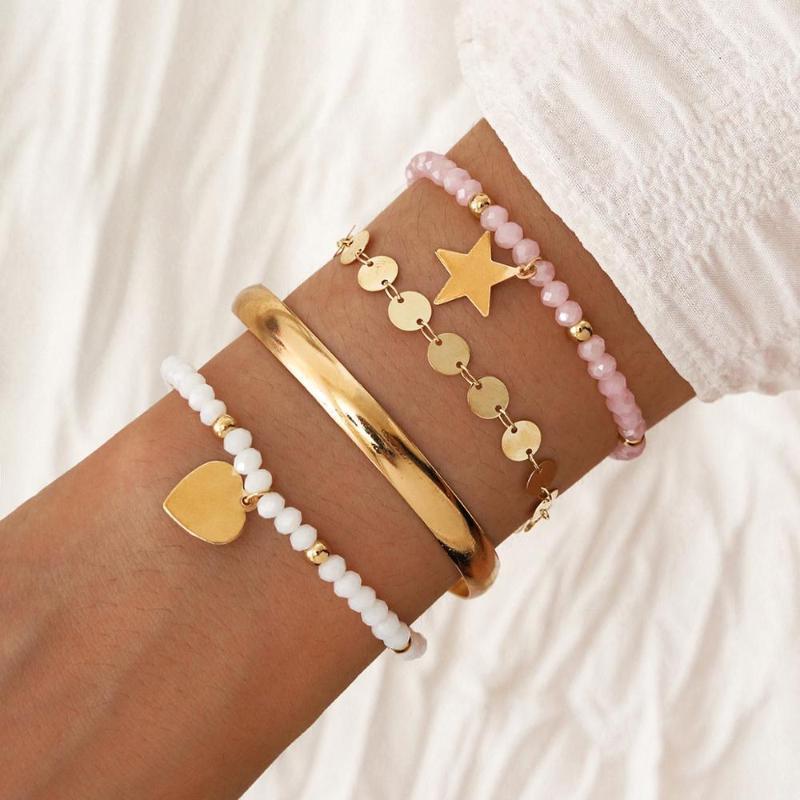 Nueva pulsera de cuerda elástica de cristal de cristal Metal Pulsera abierta Love Star Stet Jewelry