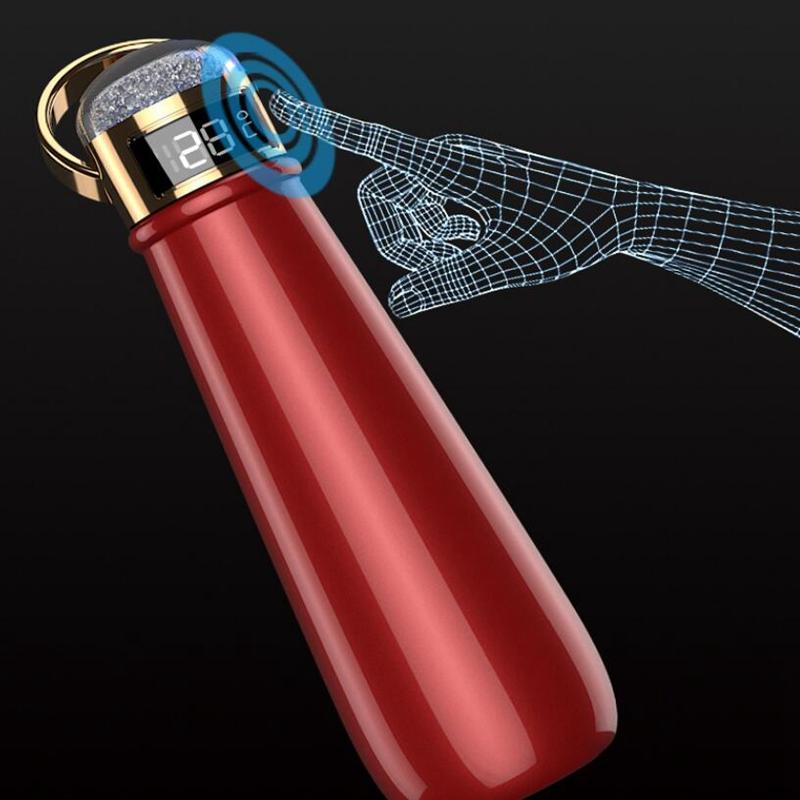 زجاجة 420ml معزول المياه مع عرض درجة الحرارة الماس كأس مزدوجة الجدار فراغ قوارير الترمس الكؤوس القهوة القدح هدية الأعمال YYA501