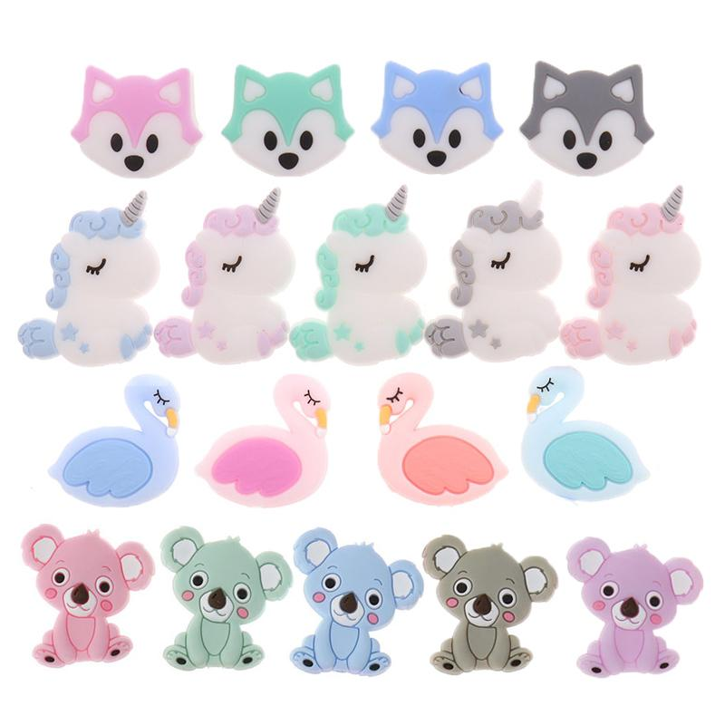 50PCS Unicorn Pearl Beads Silicone Bead Teething Toys Baby Diy Animal Rodent Set Food Grade Silicone Teether Baby Teether Ball 201124