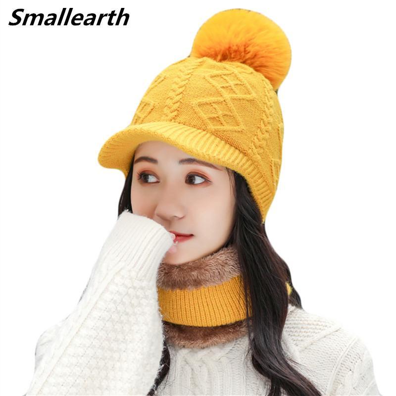 Novo inverno chapéu lenço conjunto para mulheres gorros chapéus meninas mais veludo tampões quentes femininos inverno grosso pelúcia chapéus de malha 2 peças conjuntos