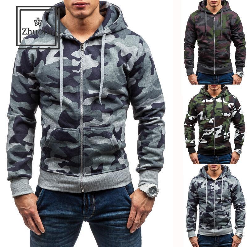 tendencia guapo de Corea de camuflaje con capucha chaqueta informal chaqueta de desgaste de doble cara de invierno para hombre con capucha para hombre otoño
