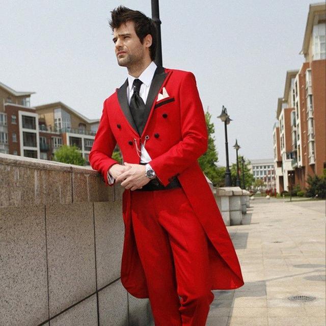 Длинные красное пальто с Mens Wedding Black нагрудных Мужчин костюм Slim Fit Men Casual смокинги для партии Пром костюмы 2PIECES (куртка + брюки) T792 #