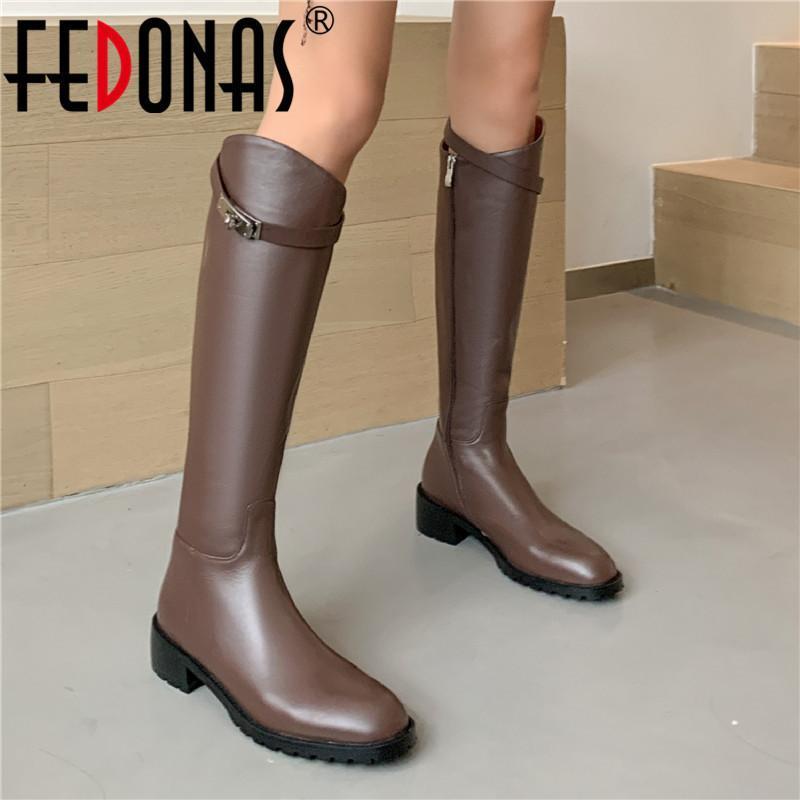 Fedonas 2020 Autunno Inverno Stivali Donne ginocchio stivali lunghi del cuoio genuino Hick talloni della donna gruppo di lavoro femminile