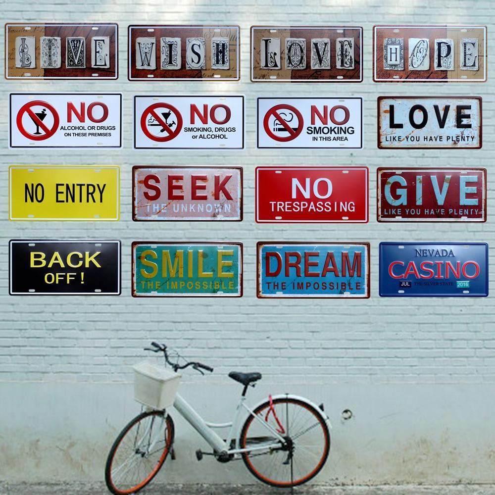 2021 Plaque métallique Bar Maison Panneaux muraux Painting Craft 15 * 30 cm Accueil Décor Mur Art Picture Affiche moderne pour Mur Art Shop Decor de restaurant