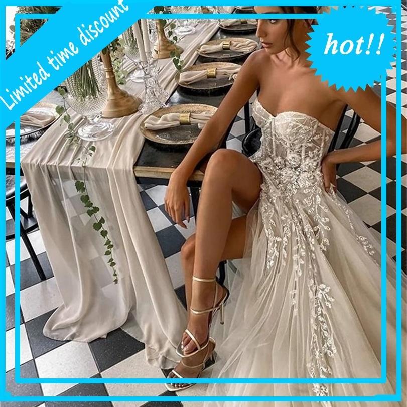 2021 Sexy Beach Wedding for Bride Elegante Elegante Boho Bridal senza spalline senza spalline senza mouwlless Abiti da principessa