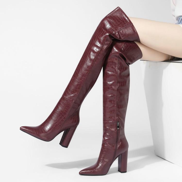 Herbst und Winter Damenstiefel einfach spitze dicke hoch über die Knie Stiefel zeigen dünne 34-43