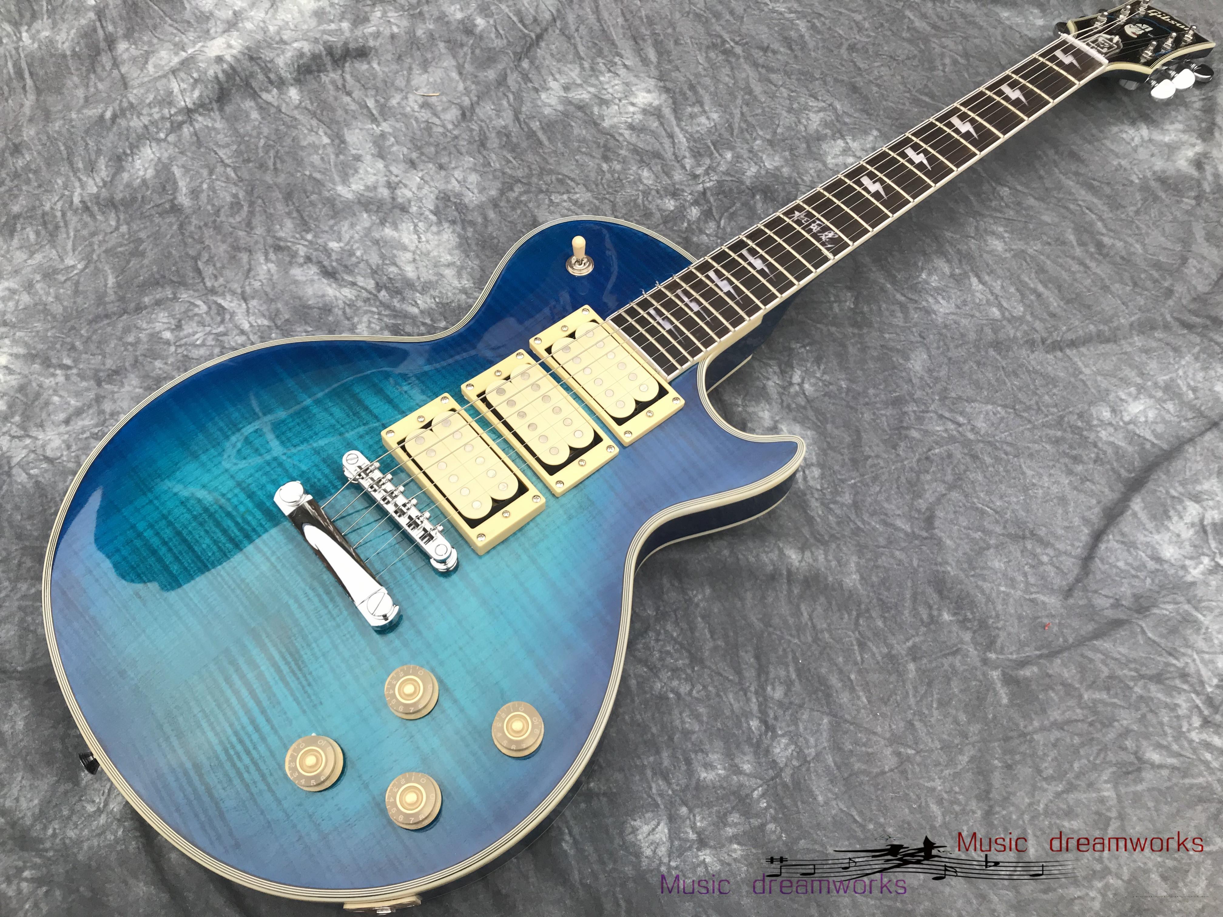 Loja Personalizada Ace Frehley Assinatura 3 Pickups Guitarra Elétrica, Guitarra Azul Alta Qualidade Flamed Maple Wood, Frete Grátis