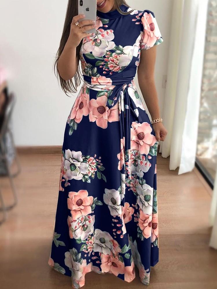 Sonbahar ve kış rahat baskılı bağcıklı kadın kısa kollu Sonbahar ve kış rahat baskılı bağcıklı elbise kadın kısa kollu elbise iJDn