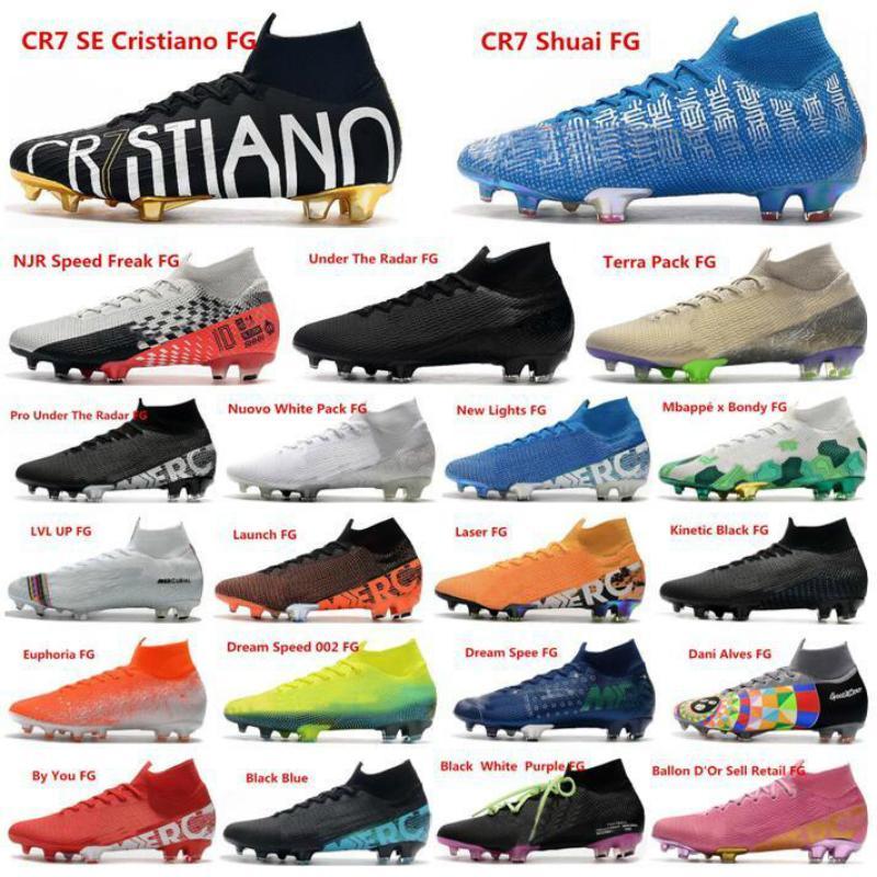 새로운 CR7 축구화 머큐리얼 슈퍼 플라이 VII (7) 360 엘리트 002 CR7 호날두 네이 마르 남성 남자 축구 신발 축구 부츠 미국 6.5-11
