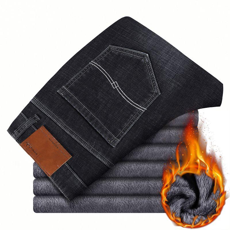 Artı Pantolon Kalın 44 Siyah Kış Marka Gevşek Streç Kot 2020 Yeni 42 Casual 46 Sıcak Denim Boyutu Pantolon erkek İş UJBSF
