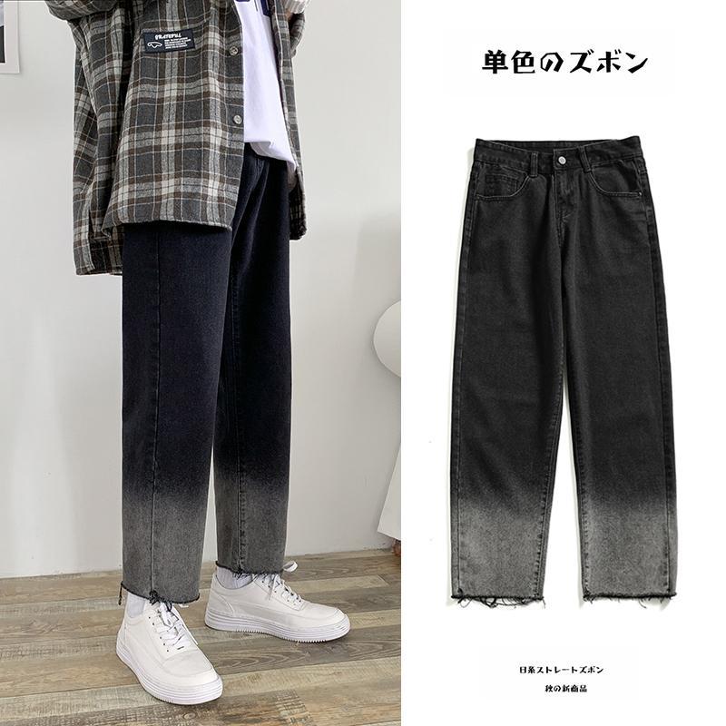 2019 Otoño Cambio gradual de Cambio de Color Baggy Homme Jeans Cargo Pocket Mens Pantalones BF Moda Viento Flojo Pantalones Casuales S-2XL Q0105
