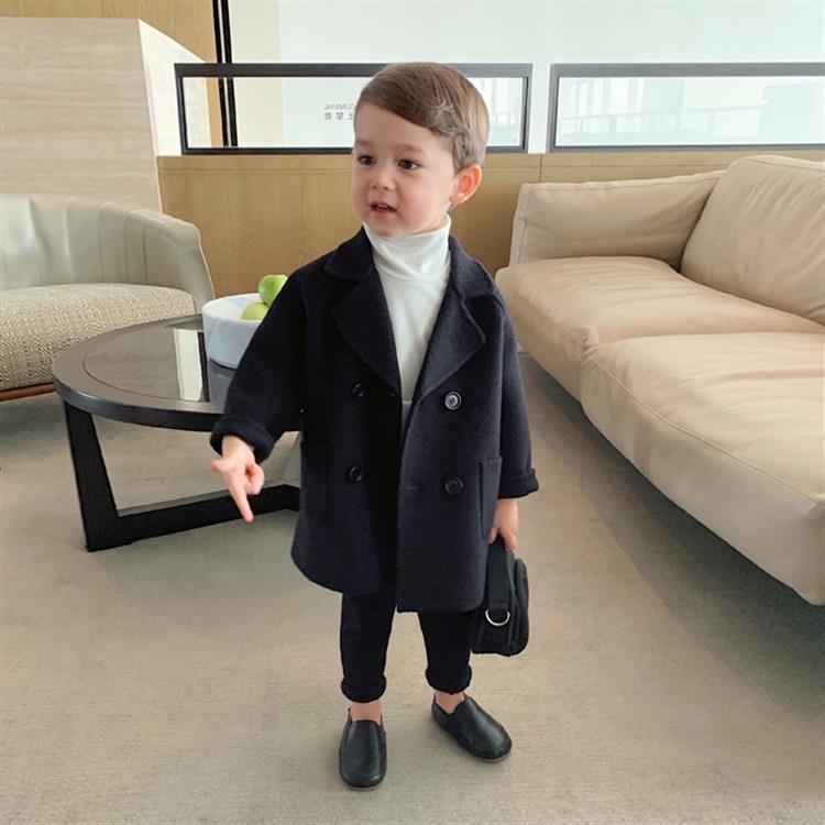 الشتاء الستر الأولاد الصلبة الصوفين مزدوجة الصدر طفل رضيع خندق معطف التلبيب 1 2 3 4 5 ص أطفال قميص معطف الصوف معطف