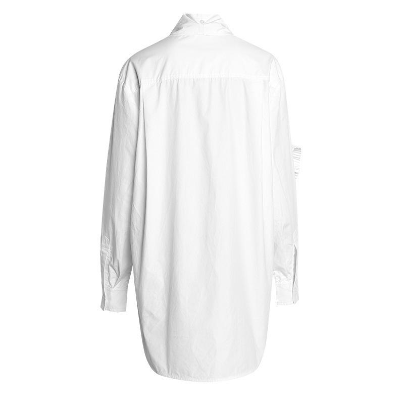 [EAM] Neue Frühling Herbst Stehkragen Langarm Weiß Falten gespleißt Lose Zwei Teile Hemd Frauen Bluse Mode JR839 201201