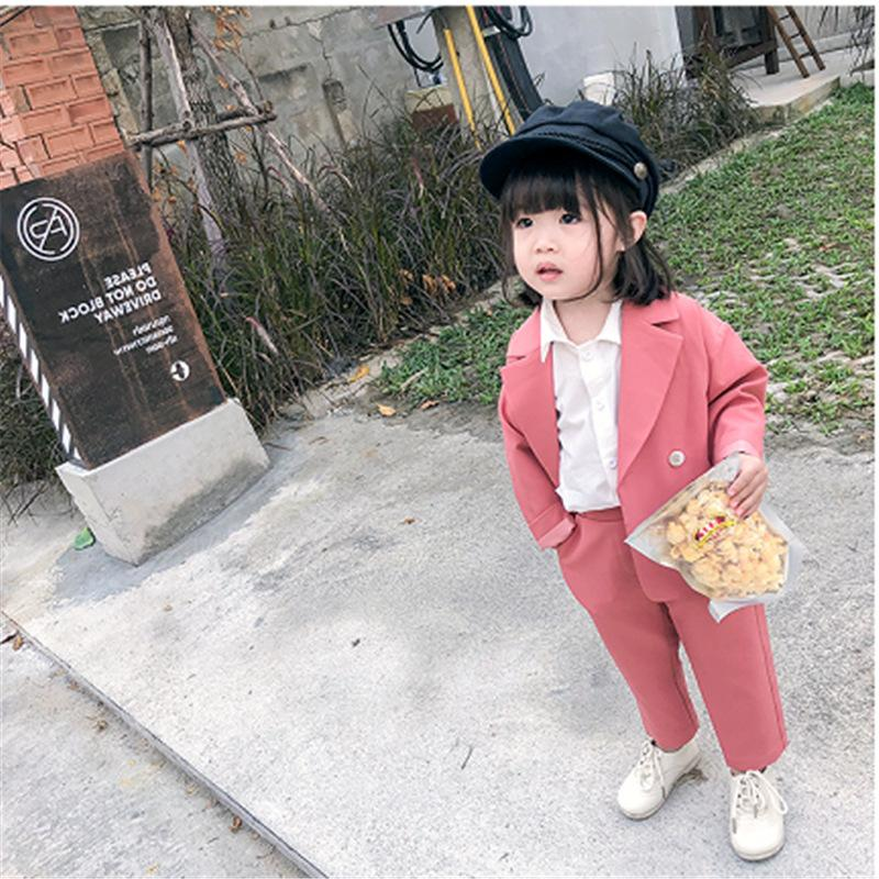 Free DHL Fashion Girl Boy Formal Clothes Set Suit Jacket+Pant 2PCS Toddler Baby High Quality Suit Blazer Jacket Thick Korean Baby Clothes