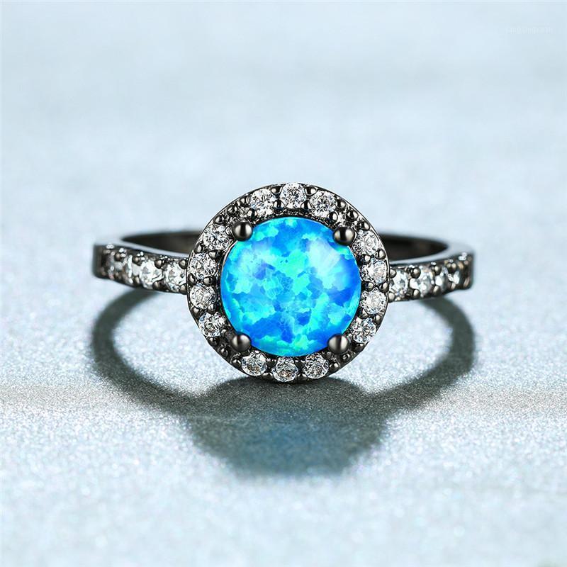 Boho femmina Blue Fire Opal Ring Fashion 14kt Black Gold Anelli di nozze per le donne Promise Amore Amore Anello di fidanzamento rotondo