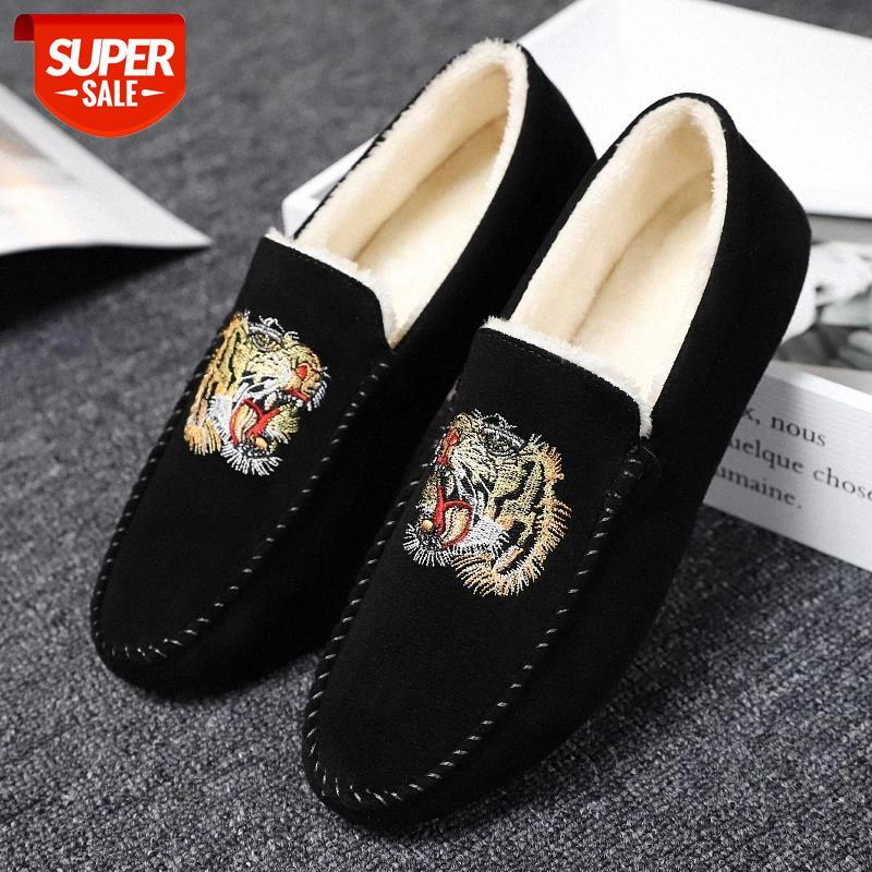 2021 New Men Loafers Suede Winter Thermal Mens Casual Shoes Anti Slip Lightweight Driving Shoes Male Snow Warm Moccasins #JG37