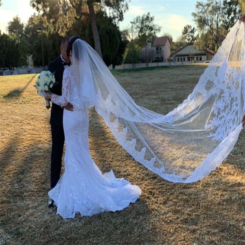 Melhor venda de luxo imagem real véu de casamento três metros longos véus lace cristais applique duas camadas comprimento da catedral barato véu nupcial