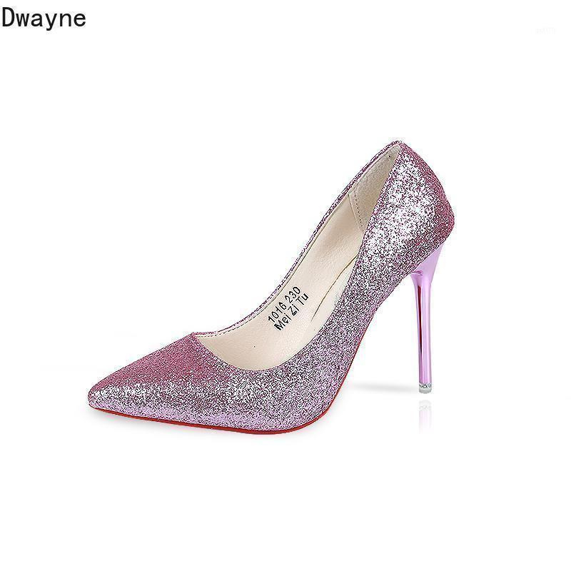 2021 Новые женские высокие каблуки европейские и американские блестки заостренные мелкие рта сексуальные одиночные туфли серебряная профессиональная рабочая обувь1