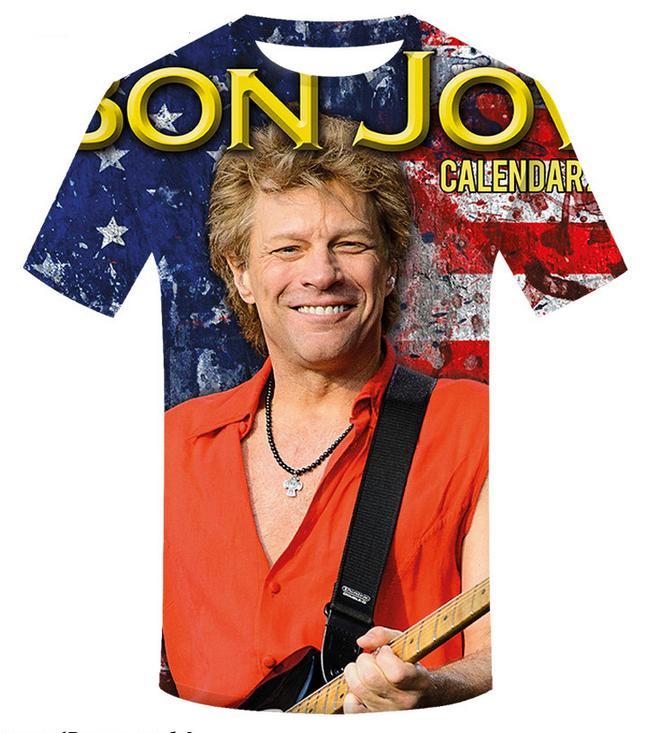 porte livre Atacado-Novo Moda Pares Homens Mulheres formosa Casual O cantor de rock Bon Jovi 3D impresso Nenhum tampão ocasional camisetas T Tops DS418