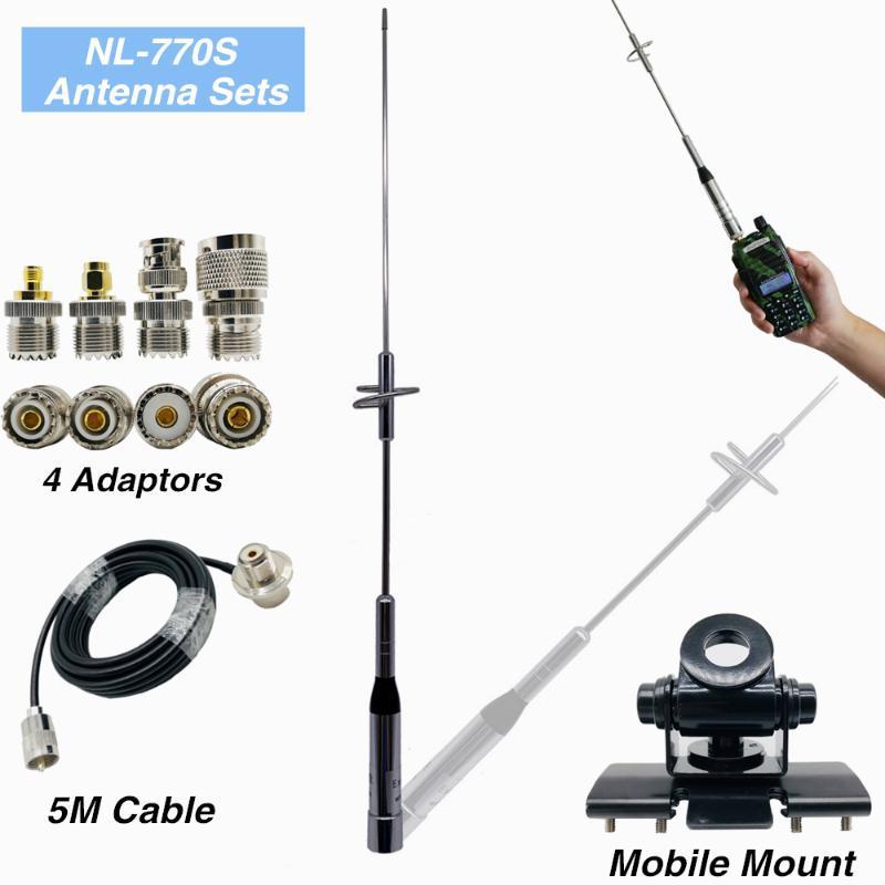 Car aparelho de rádio Nagoya NL-770S Walkie Talkie Antenna + 5M Cabo Coaxial + aço inoxidável Clipe Monte + Quatro Belas Copper Connector Adapte