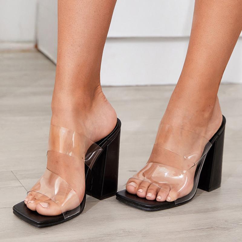 2020 11cm chunky hihg claro mulher transparente de pé sapatos siez 42slides 93v0