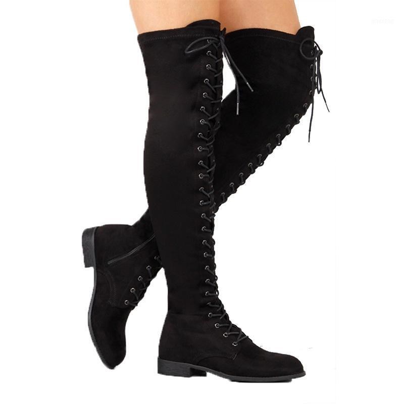 Bottes 2021 Femmes Lacets à lacets sur-the-the-the-genouillé Chaussures Chaussures Rome Genouillère High-Haute Hiver Plus Taille 431