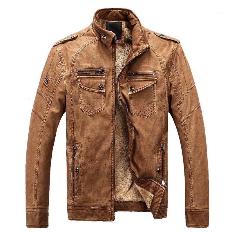 Laamei зимняя куртка мужчины стойки воротник мотоцикл кожаные куртки плюс бархат промытый ретро кожаный куртка сгущают теплые слои1