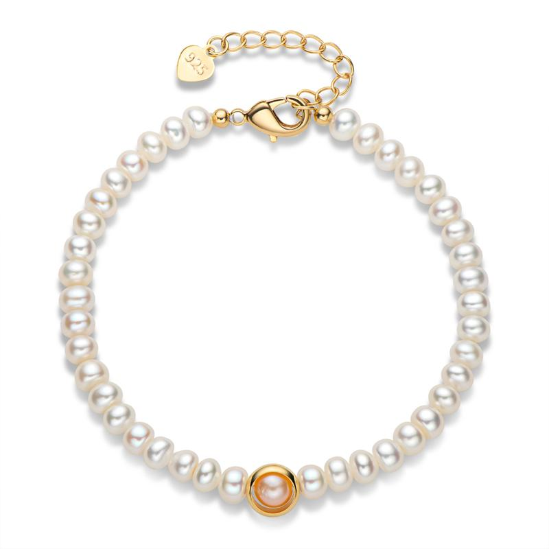 Aiyanishi14k Золотой Браслет Браслет подлинной культивируемый пресноводный жемчужный браслет браслет мода витая браслет браслет подарки