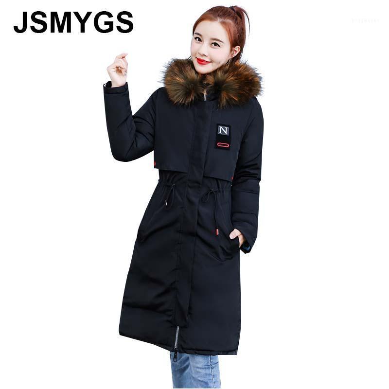 JSMYGS Veste d'hiver Femmes Casual Coton Long Coat Parkas Big Fur Col à capuche à capuche Dames Chaud Coton à double face à double face Vert1